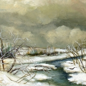 Dimitrina Stamboldjiev Kutriansky_A Wintery Day_Oil on Canvas_9x12_500